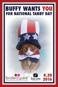 The Mayor's Alliance for NYC's Animals, Bideawee, and Triumph Books will celebrate the first National Tabby Day on April 30, 2016, with a cat adoption event and book signing.