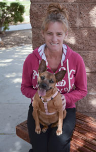 Domestic violence survivor from Noah's Animal House with her beloved dog.